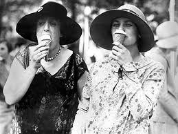 Ladies eating ice cream